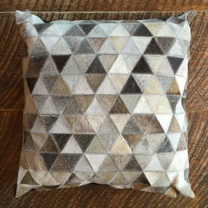 As Shown: Cowhide Prism Pillow Size: 18 x 18 inches Material: Hair-On Cowhide