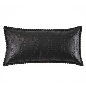 As Shown: Motorcycle Leather Pillow Size: 9 x 18 inches Material: Leather Color: Black