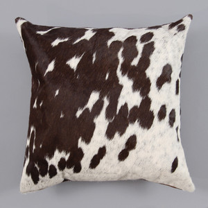 As Shown: Espresso Spot Pillow Size: 16 x 16 inches Material: Cowhide  Color: Espresso Spotted