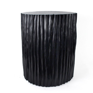 As Shown: Columna Table Size: 16 diameter x 20 H inches Finish: Ebony Topcoat: Sealed Topcoat
