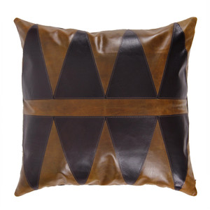 As Shown: Modern Primitive Pillow Size: 16 x 16 inches Material: Leather Color: Saddle Brown with Espresso Brown