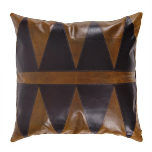 Modern Primitive Pillow 16 x 16 inches Leather Saddle Brown, Espresso Brown