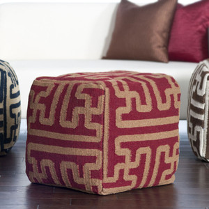 As Shown: Tribal Geometry Wool Pouf  Size: 18 x 18 x 18 H inches Material: Wool Color: Maroon and Khaki  Description: A geometric pattern in classic color pairings imparts a primitive vibe and texture in sturdy wool. Artisans weave the patterned cloth from sheep's wool then fill with densely packed shredded cotton to achieve a soft, firm seat.