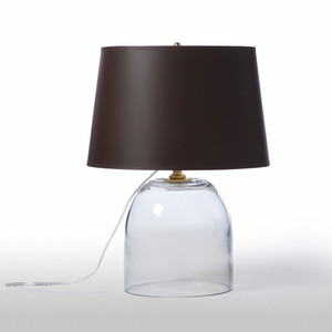 As Shown: Cloche Glass Table Lamp Size: 13 diameter x 16.5 H inches Material: Mouth-Blown Glass Shade: Painted Parchment  Description: Today's nod to the classic jar design, this well-proportioned, mouth-blown glass cloche lamp features a painted parchment empire shade in chocolate brown. Illuminating on a side table, shelf or bedside table.