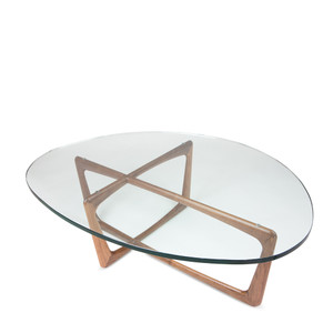 As Shown: Pasadena Coffee Table Size: 38 x 48 x 15 H inches Material: Solid Walnut with Glass Top