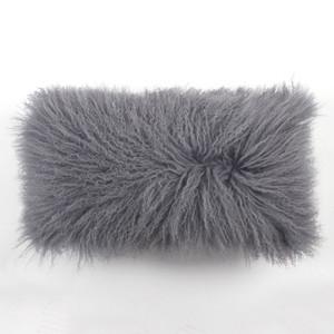 City Grey Mongolian Lamb Pillow 10 x 18 inches