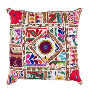 As Shown: Gujurati Embroidered Pillow - AR-068 Size: 18 x 18 inches Material: Cotton Polyester  Description: A singular and eye-catching statement piece to satiate your color appetite in white cotton fabric and colorful thread with decorative embellishments. Created by artisans in the Indian state of Gujurat using traditional intricate, embroidery techniques specific to the region. Baked in matching fabric and fitted with a down inner, each is unique to you; please allow for variation in colorations and detailing. Authentic and beautiful, it adds life to your look or makes an unforgettable gift for your favorite world travel enthusiast.