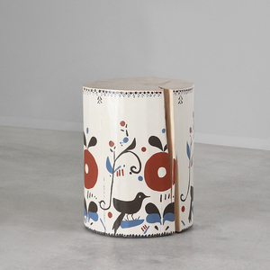 As Shown: Pajarito Hand Painted Side Table Size: 12 dia x 16 H inches Color: Bone Topcoat: Sealed Topcoat