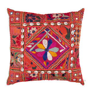 As Shown: Indian Bazaar Pillow - AR-070 Size: 18 x 18 inches Material: Cotton Polyester Blend  Description: A splendid statement piece to satiate your color appetite in red cotton fabric and colorful thread with decorative embellishments. Created by artisans in the Indian state of Gujurat using traditional intricate, embroidery techniques specific to the region. Backed in matching fabric and fitted with a down inner, each is unique to you; please allow for variation in colorations and detailing. Authentic and alluring, it adds pep to your look or makes an unforgettable gift for your favorite world travel enthusiast.