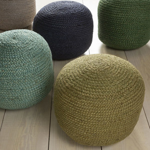 As Shown: Beach Bungalow Pouf Size: 20 diameter x 14 H inches Material: Jute in Dove Grey, Olive, Seafoam, Slate Blue or Teal  Description: Naturally lovely, these jute poufs give you a touch of textural fiber to brighten any room. Artisans weave jute fiber from the stems of a tropical Old World plant, then fill with densely packed shredded cotton to achieve a soft, firm seat. Their classic blues and greens are at home from sea to shining sea and everywhere in between.