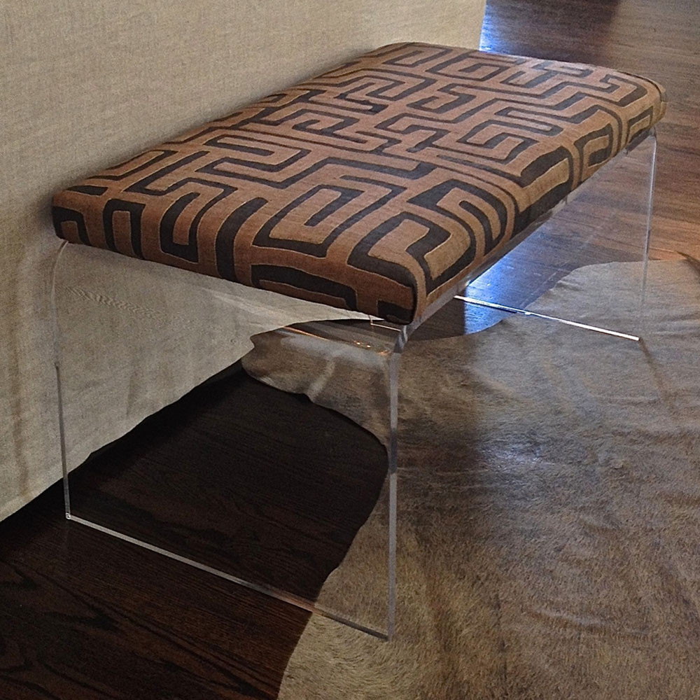 Etonnant Clearly Primal Bench 50 X 20 X 18 H Inches Kuba Cloth, Acrylic