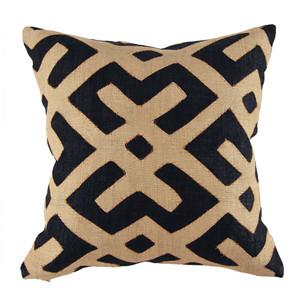 As Shown: Classic Authentic Kuba Cloth Pillow Size:  20 x 20 inches Material: Woven Raffia Cloth Color: Natural and Black