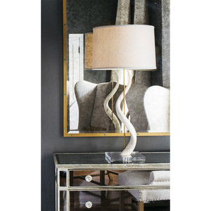 Rythmic Kudu Core Table Lamp 19 diameter x 37 H inches Kudu Horn, Acrylic, Linen