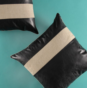 As Shown: Ray Of Linen Pillow Size: 16 x 16 inches Material: Leather, Linen Color: Black and Natural