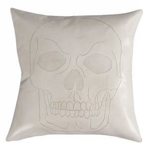 As Shown: Calavera Skull Pillow Size: 16 x 16 inches Material: Leather Color: Bone