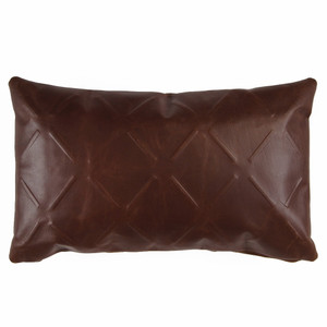 Racer Leather X Pillow 2 x 20 inches Leather Chocolate Brown