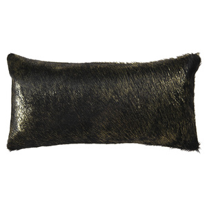 As Shown: Vail Metallic Hide Pillow Size: 9 x 18 inches Material: Cowhide  Color: Black