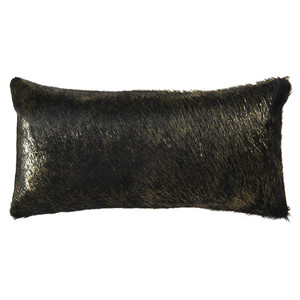 Vail Metallic Hide Pillow 9 x 18 inches Cowhide  Black