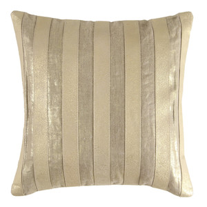 Palm Beach Pillow 18 x 18 inches Leather, Linen   Gold