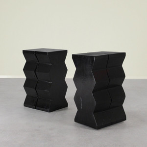 As Shown: Bandera Solid Wood End Table Size: 12.5 x 15.5 x 24.5 H inches Finish: Ebony Topcoat: Sealed Topcoat
