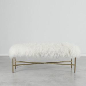 Wilshire Mongolian bench 48 x 15 x 18 hinches Mongolian Hide, Brass White