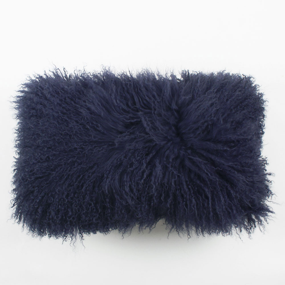 Navy Blue Mongolian Lamb Pillow Pfeifer Studio