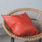 As Shown: Tomato Orange Leather Pillow Size: 20 x 20 inches Material: Leather Color: Orange