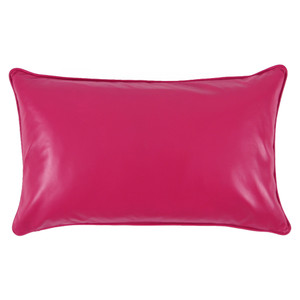 As Shown: Pink Lipstick Leather Pillow Size: 12 x 20 inches Material: Leather