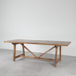 As Shown: Mesa de Granja Farm Table Size: 36 x 96 x 30 H inches  Finish: Pecan Topcoat: Sealed Topcoat