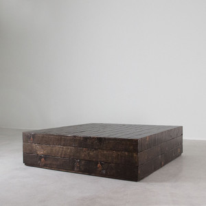 As Shown: Sugar Pine Cube Table Size: 60 x 60 x 16 H inches Finish: Dark Walnut Topcoat: Sealed Topcoat
