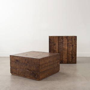 As Shown: Sugar Pine Cube Table Size: 30 x 30 x 16 H inches Finish: Honey Brown Topcoat: Sealed Topcoat