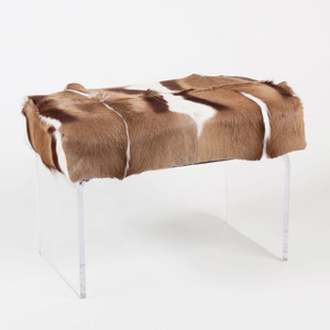 Great Migration Antelope Bench 35 x 20 x 18 H inches African Springbok Hide, Acrylic