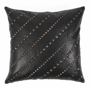 As Shown: Rock Star Pillow Dimensions: 20 x 20 inches Material: Leather Color - Black