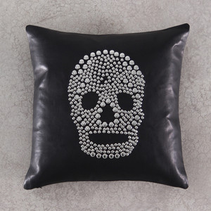 As Shown: Skullduggery Pillow Size: 16 x 16 inches Material: Leather Color: Black