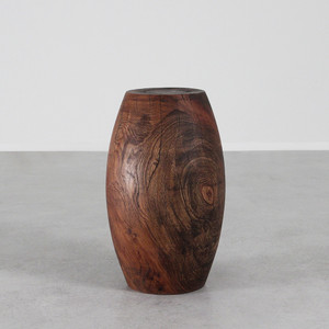 As shown: Tambor Occasional Table  Size: 13 dia x 22 H inches Stain: Light Walnut Topcoat: Oiled Finish