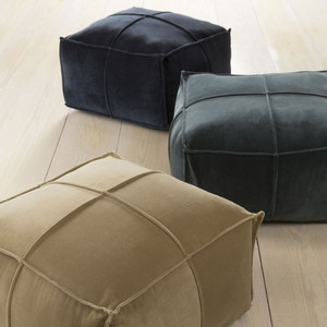 As Shown: Orléans Velvet Pouf  Size: 24 x 24 x 13 H inches Material: Cotton Velvet in Charcoal, Navy (unavailable) or Soft Gold  Description: Mais oui! But of course you can include soft color in your interior with these tactile cotton velvet poufs. Each is densely packed with shredded cotton for a firm seat in four colorways. Handmade in India with élan.