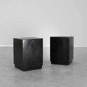 As Shown: Cubo Side Table Size: 15 x 15 x 19.5 H inches Finish: Ebony Topcoat: Sealed Topcoat
