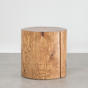 As Shown: Natural Log Table Dimensions: 12 dia x 16 H inches and 12 dia x 20 H inches Finish: Pecan Pine Topcoat: Sealed Topcoat