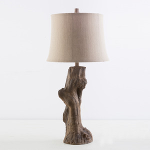 As Shown: Driftwood Table Lamp - CCK-547 Size: 15 diameter x 32 H inches Material: Cast Resin Shade: Burlap  Description: Add a touch of the outdoors to your interior with this table lamp in cast resin. It comes fitted with an off-white bell shade in burlap and features a 3 way socket and clear cord, up to 100 watts.