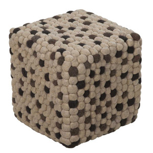 As Shown: Pebbled Path Pouf - POUF-30 Size: 18 x 18 x 18 H inches Material: Wool felt  Description: Organic shades of brown and beige wool feltform a stone pebble pattern in a contemporary piece. Artisans hand-felt durable sheep's wool into small balls and attach them to create a patterned design, then fill with densely packed shredded cotton to achieve a soft, firm seat. As fun to touch as it is to look at, it's the perfect pull-up as a footstool or for extra seating.