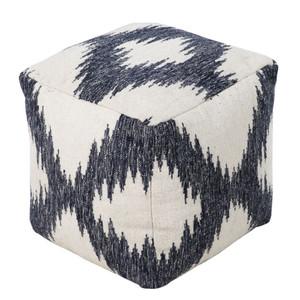Woolen Ikat Pouf - POUF-236 18 x 18 x 18 H inches Wool