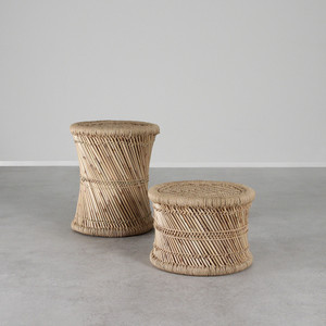 As Shown: Authentic Indian Mooda Stool Size: 17.5 dia x 12 H inches and 17.5 dia x 21 H inches Material: Stalks and Rope Color: Natural