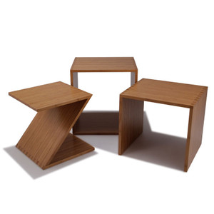 As Shown: ZON Bamboo Nesting Tables Size: 16 x 20 x 18.5 H inches overall Material: 100% Sustainable Bamboo Finish: Caramelized   Description: These solid tables have recessed handles and felt feet, allowing them to be moved easily. The set of three, each with its own distinct geometry, can be read like a book: Z-O-N.