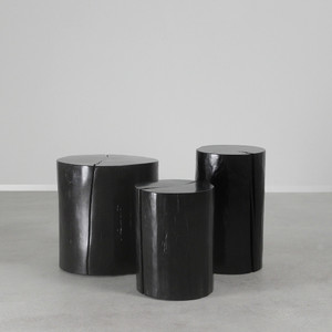 As Shown: Lacquered Log Tables - Wood Log Table Size: 12 dia x 16 H inches, 12 dia x 20 H inches, and 18 dia x 18 H inches Finish: Ebony Topcoat: Lacquer