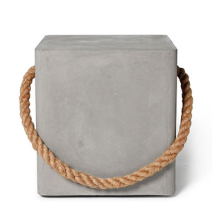 As Shown: Hold Fast Concrete Cube Size: 15.75 x 15.75 x 17.75 H inches Material: Concrete, Jute  Description: This cute little cube can be easily pulled around by its natural rope handle because four sturdy swivel castors are hidden in its base. Take it for a walk from the den to the living room and then out by the pool. Made by hand, concrete is blended with sand and fiberglass to create a lightweight and durable material. Finished with a waterproof sealer, it is suitable for interior or exterior use.