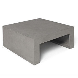 As Shown: Pied-à-Terre Coffee Table Size: 27.5 x 27.5 x 12 H inches Material: Concrete  Description: Perfect proportions and streamlined styling bring grandeur to a petite piece. An optional planter provides an organic oasis. Made by hand, concrete is blended with sand and fiberglass to create a lightweight and durable material. Finished with a waterproof sealer, it is suitable for interior or exterior use.