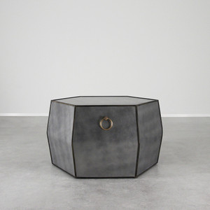 As Shown: Mayfair Leather Cocktail Table Size: 36 L x 36 W x 21 H inches Material: Leather Color: Metallic Grey