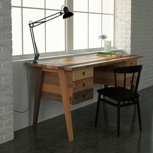 As Shown: Ainslie Desk Size: 63 x 27.5 x 30 H inches - Six drawers Material: FSC certified mixed hardwoods Finish: Raw Wood  Description: Take inspiration for your work from the traditional mortise and tenon joinery and angled legs of this desk, made by Indonesian craftsmen of 100% recycled FSC-certified hardwoods. The Ainslie feels fresh and modern with its raw finish and mixed hardwoods.