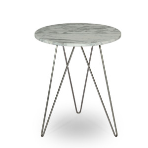 As Shown: Architects Accent TableSize: 18 diameter x 22 H inchesMaterial: Marble TopFinish: Stainless Steel Base