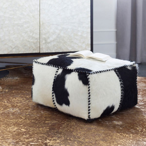 Home On The Range Pouf - RRPF-001 22 x 22 x 13 H inches Cowhide Style B